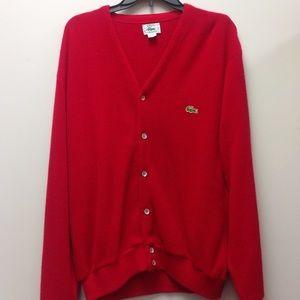 Vintage Izod Lacoste Red Men's Cardigan Sweater L